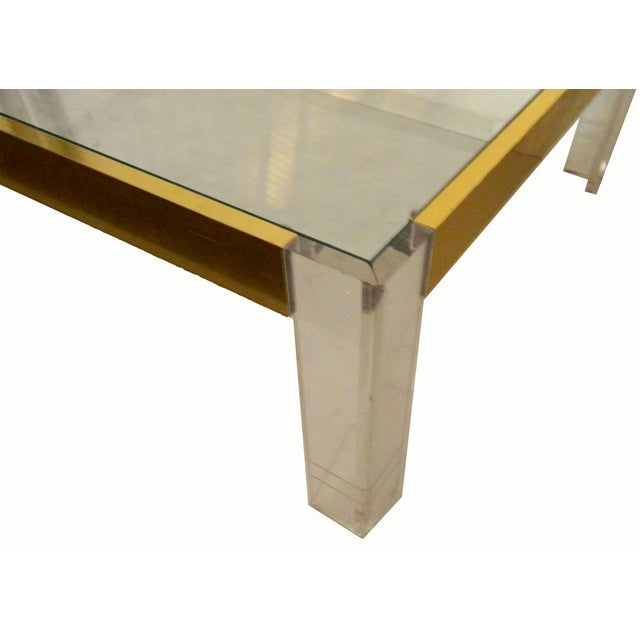 1970s Lucite & Brass Cocktail Table - Image 6 of 6