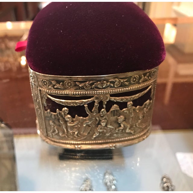 Late 19th Century 19th Century Continental Silver and Velvet Trinket Box For Sale - Image 5 of 11