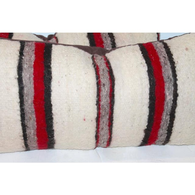 Pair of Handwoven Navajo Saddle Blanket Pillows For Sale - Image 4 of 4