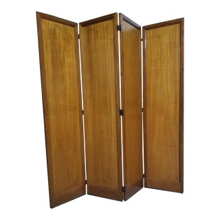 Mid Century Modern Scandinavian Four Panel Walnut Screen/Room Divider For Sale