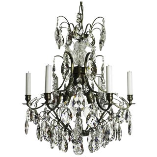Baroque 6-Arm Ebony Almond Crystal Chandelier For Sale