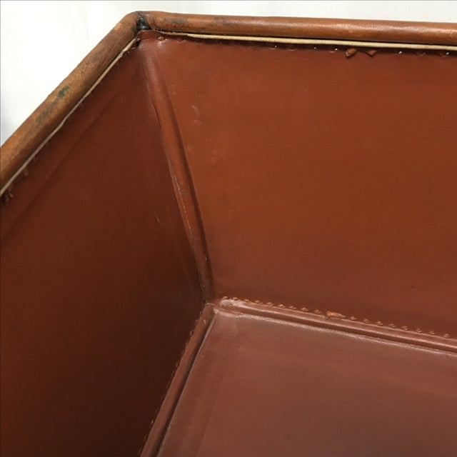 Transitional Brown Leather Planter - Image 4 of 5