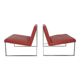 Bernhardt Red Vinyl Lounge Chairs - A Pair For Sale