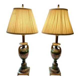 A Pair of Rembrandt Lamp Co Porcelain Chinoiserie Peony Urn Lamps For Sale