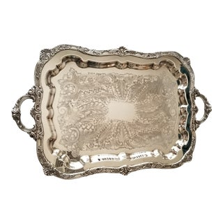 Vintage International Silver Large Silver Plated Footed Serving Tray For Sale