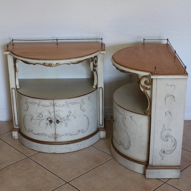 Exceptionally rare and unique matching pair of high quality demilune nightstands/night tables or side tables made by...