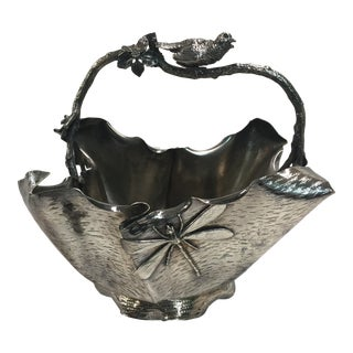 Antique Victorian Silverplate Basket Simpson Hall Miller For Sale