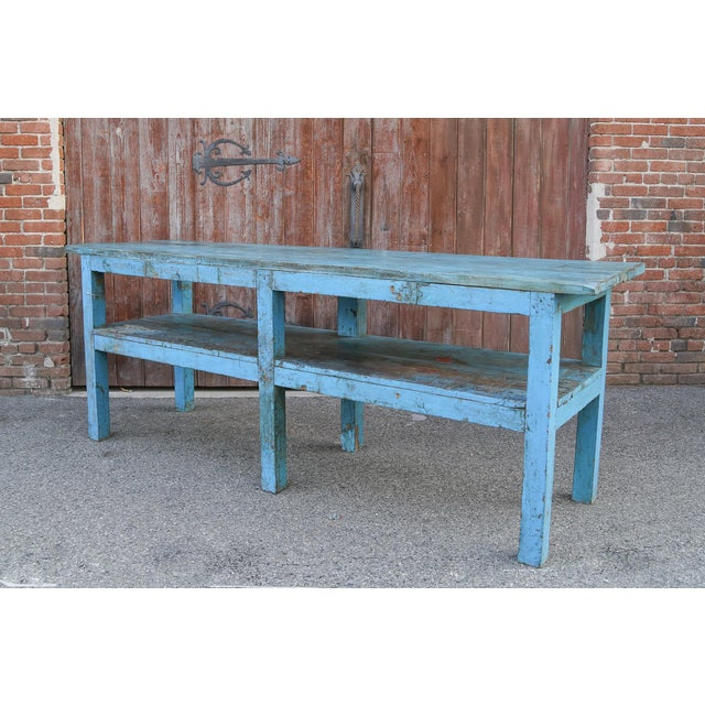 Asian Colonial Blue Farmhouse Kitchen Table For Sale - Image 3 of 7
