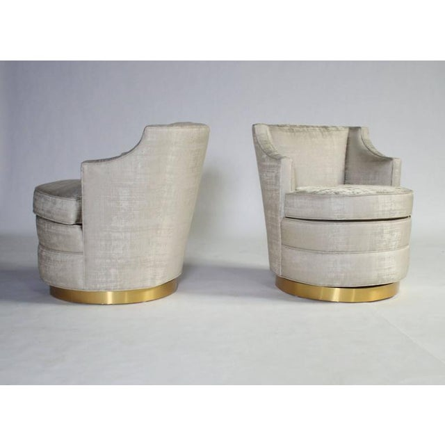 Fabric Edward Wormley for Dunbar Swivel Chairs For Sale - Image 7 of 7