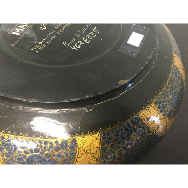 Antique Indian Kashmir Lacquer Paper Mache Bowl For Sale In Tampa - Image 6 of 12