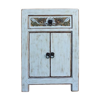Distressed Off White Floral Carved Side Cabinet