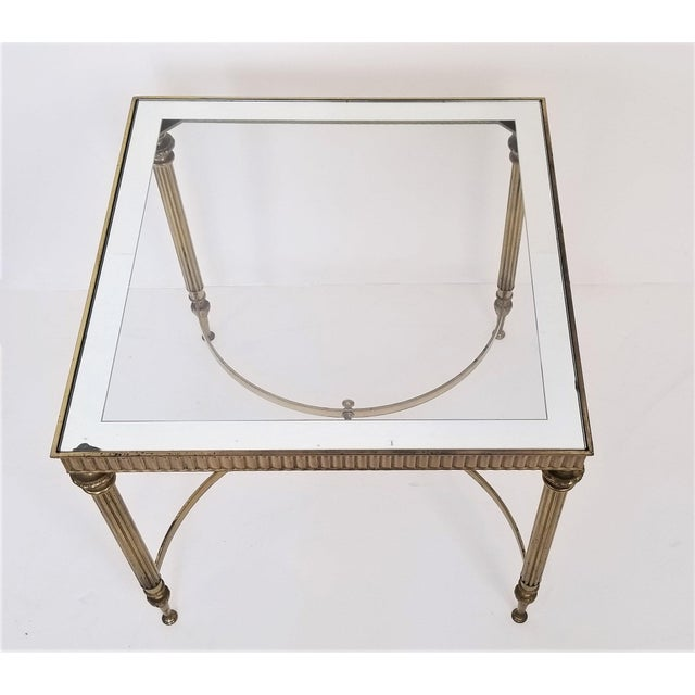 Vintage Italian Mid Century Modern Brass Mirror Glass End Side Table For Sale In Miami - Image 6 of 12