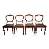 Image of Antique 19th Century English Victorian Balloon Back Mahogany Library Chairs- Set of 4 For Sale