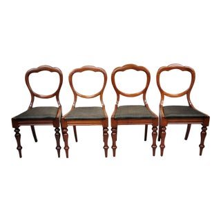 Antique 19th Century English Victorian Balloon Back Mahogany Library Chairs- Set of 4 For Sale