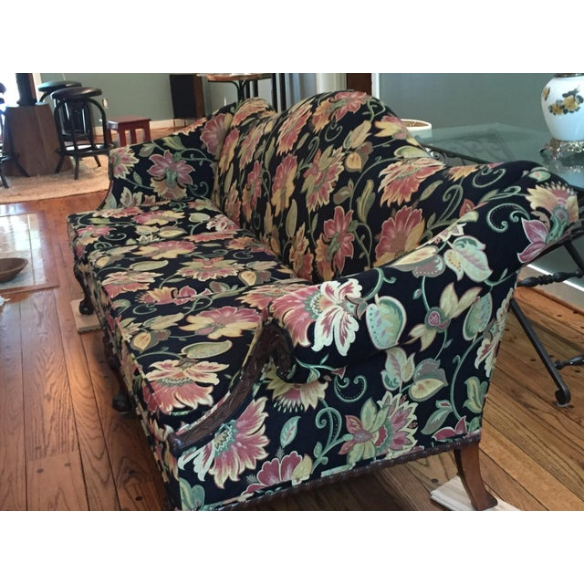 Gorgeous Chippendale-Style Black and Rose Tapestry Camel-Back Couch - Image 4 of 7