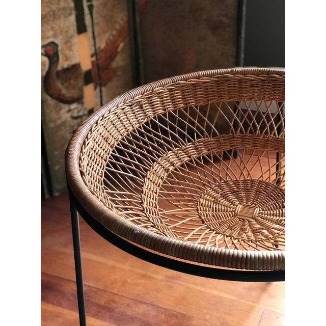 Mid-Century Modern 1950s Mid Century Modern Rattan Wicker and Wrought Iron Catch All Standing Basket For Sale - Image 3 of 7