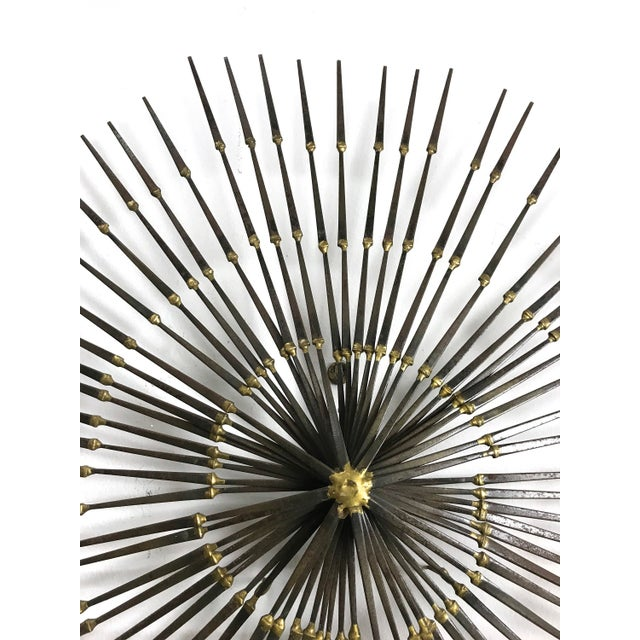 Gold 1970s Vintage Brutalist Welded Nail Starburst Wall Sculpture For Sale - Image 8 of 11