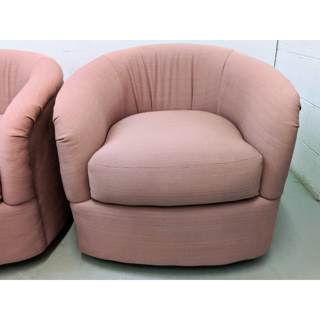 Modern Pink Barrel Back Lounge Chairs- A Pair For Sale - Image 11 of 12