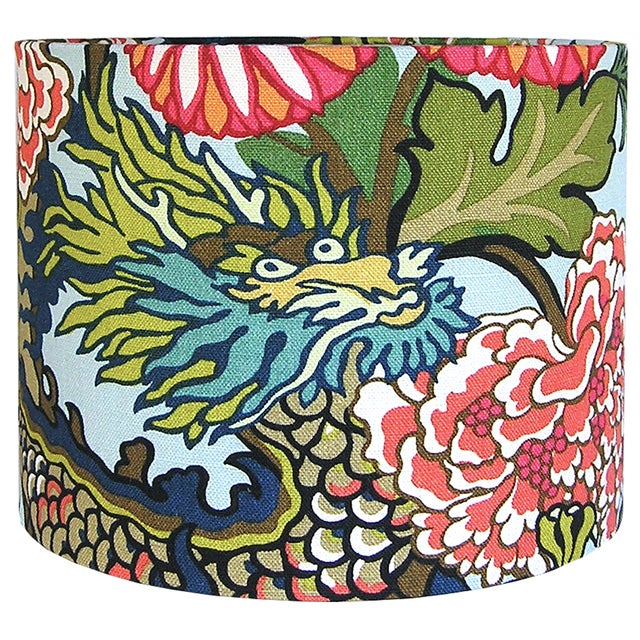 Contemporary Aquamarine Chiang Mai Dragon Drum Shade For Sale - Image 3 of 5