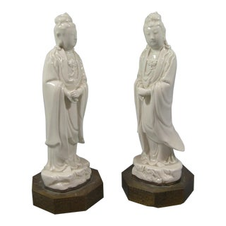 Antique Chinese Dehua Blanc De Chine Porcelain Standing Guanyin/Kwan Yin Statues - Set of 2