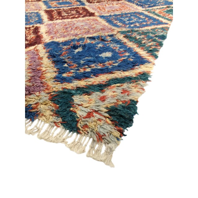 pink blue moroccan wool area rug 5 39 5 x 8 39 5 chairish. Black Bedroom Furniture Sets. Home Design Ideas
