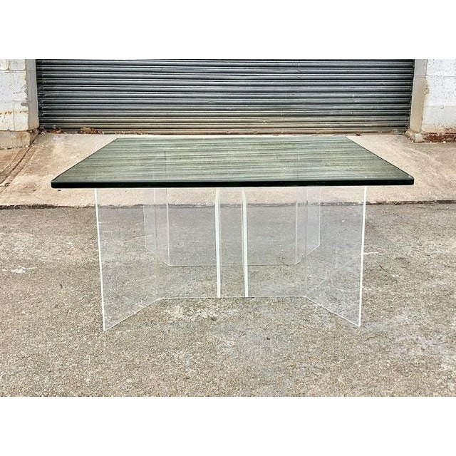 1960s Mid-Century Modern Coffee Table With Lucite Geometric Base and Square Glass Top For Sale - Image 5 of 8