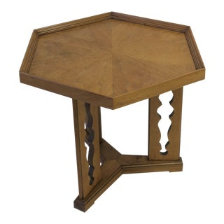 Hexagon Wood Side or End Table Esperanto by Drexel For Sale
