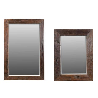 Contemporary Malcom Sleeper Wooden Wall Mirrors - Set of 2 For Sale