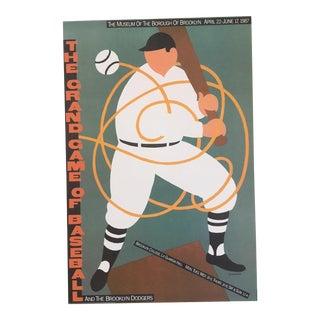 Vintage Seymour Chwast Pushpin Poster Print, Baseball Exhibit Poster, Brooklyn Museum