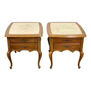 Vintage Globe Furniture Queen Anne Style Marble Top Side Tables - a Pair For Sale