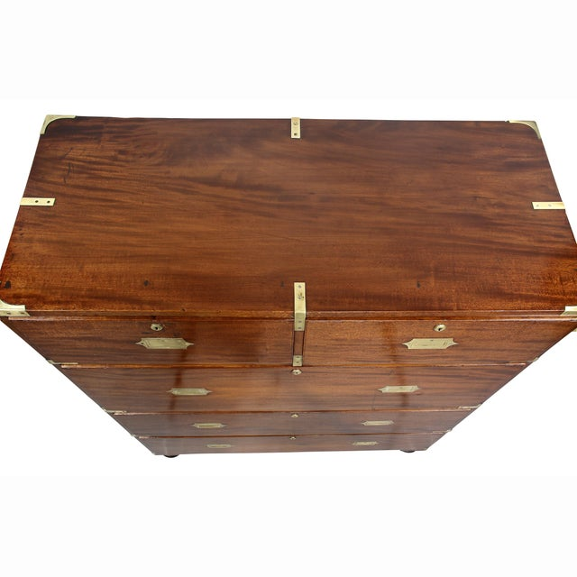 Victorian Campaign Mahogany Military Chest For Sale - Image 4 of 11