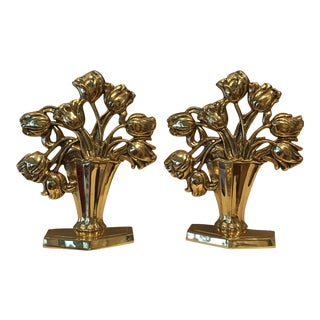 Mid Century Brass Tulip Bouquet Bookends - a Pair