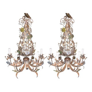 Pair of Silver Overlay Metal Chandeliers with Glass Murano Flowers Six Lights For Sale