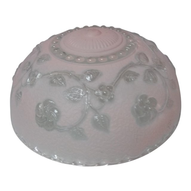 Vintage Pink Pressed Glass Lampshade For Sale