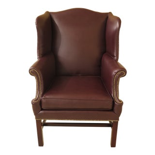 1960s Vintage Burgundy Leather Chippendale Style Wing Back Chair For Sale