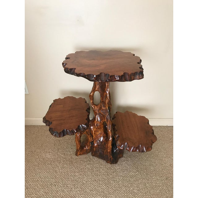 Contemporary Burlwood Live Edge Side Table For Sale - Image 3 of 10