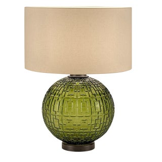 Olive Glass With Black Bronze Table Lamp and Shade For Sale