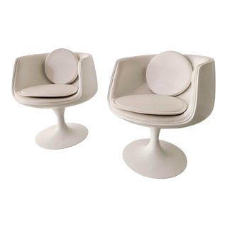 Manner of Eero Aarnio Space Age Cognac Chairs- a Pairf For Sale