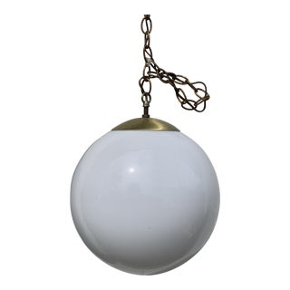 1950s Mid-Century Modern Globe Light With Brass Fittings For Sale