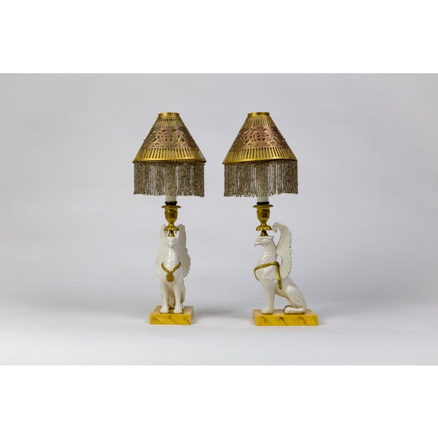 Italian Porcelain Griffin Push-Up Candlesticks With Beaded Shades (Pair) For Sale - Image 12 of 12