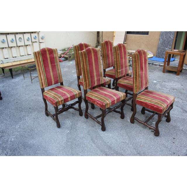 Monumental Set Of Louis XIII Style Solid Walnut Os De Mouton Dining Chairs - Set of 6 - Image 4 of 11