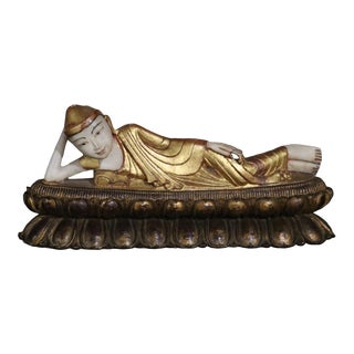 Alabaster Reclining Buddha Sculpture With Wooden Base For Sale