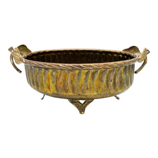 Vintage Brass Planter With Leaf Handles For Sale
