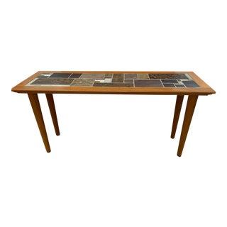 Dutch Scandinavian Tile Top Sofa Table For Sale