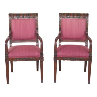Neoclassical Upholstered Open Arm Chairs - A Pair