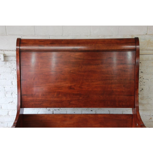 Henredon Aged Cherry Wood Queen Size Sleigh Bed For Sale - Image 5 of 11
