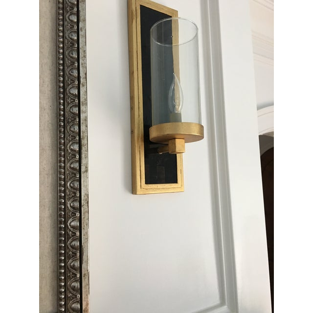 2010s Currey and Company Contemporary Gold Leaf / Black Wall Sconces - A Pair For Sale - Image 5 of 6