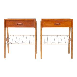 Danish Modern Teak Nightstands - Pair For Sale