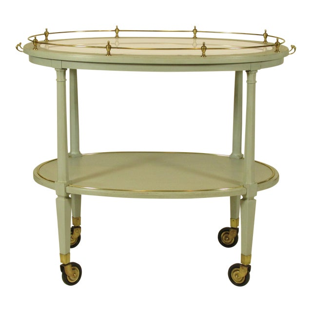 English Gray Painted Tea Cart For Sale