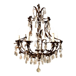 20th Century Italian Style Tole 6-Light Crystal Chandelier For Sale
